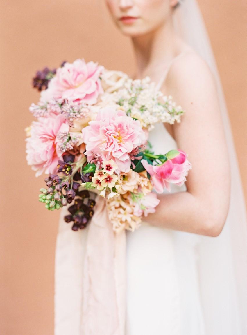 Pink Cascading Bridal Bouquet