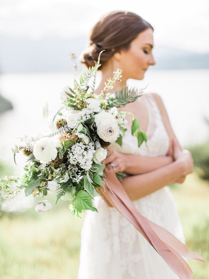 Elopement bridal bouquet of just picked white flowers