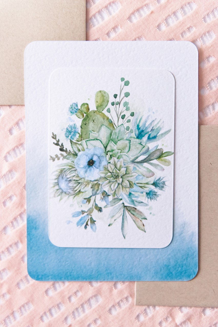 Blue Watercolor Floral Wedding Stationery Suite from Wedding Paper Divas