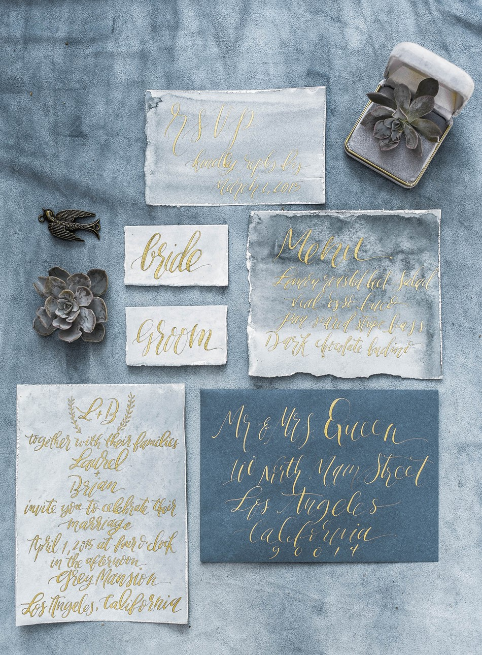 Blue & Gold Watercolor Calligraphy Wedding Stationery Suite