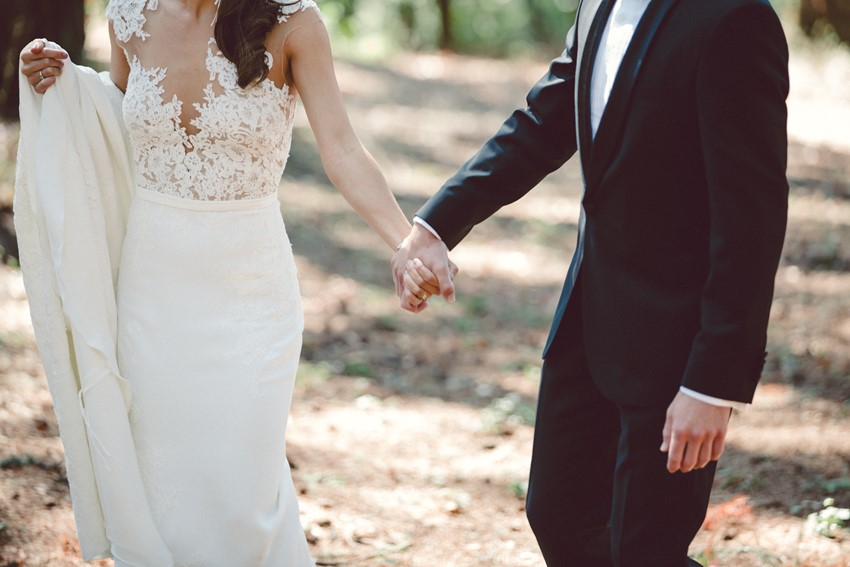 Romantic Woodland Wedding First Look
