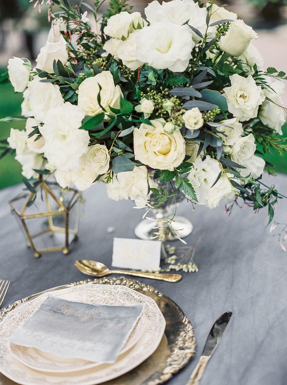 Elegant Vintage Silver Wedding Place Setting