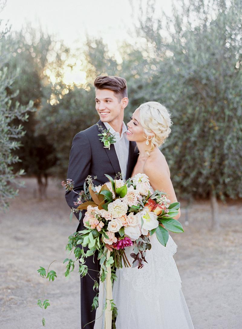Romantic Olive Grove Wedding Bride & Groom