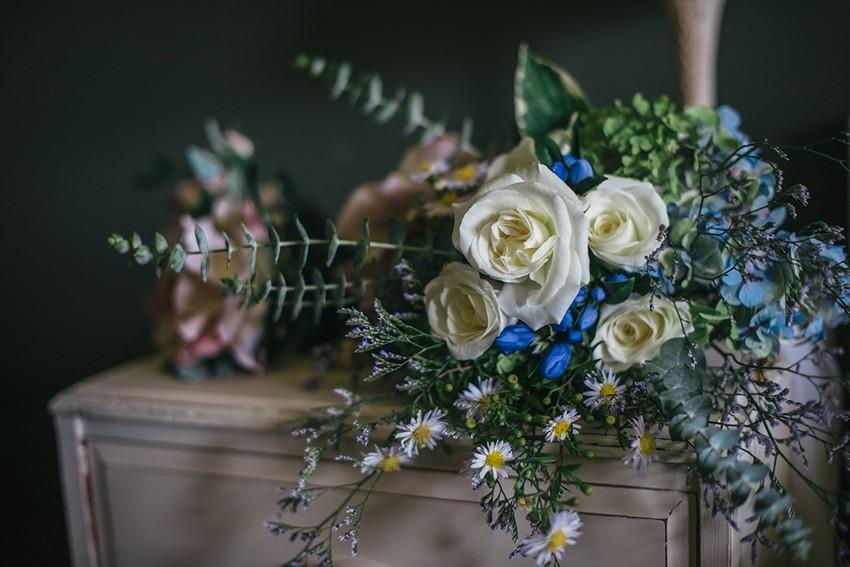 Blue & White Bridal Bouquet for a Boho-Vintage Beach Wedding