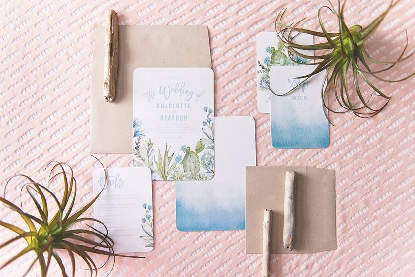 Blue Watercolor Floral Wedding Invitation from Wedding Paper Divas