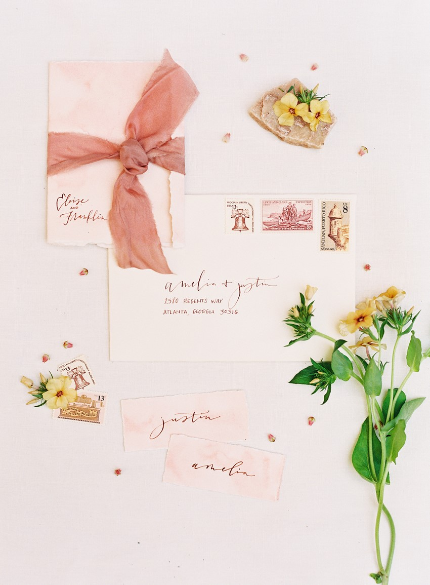 Blush Calligraphy Wedding Invitation