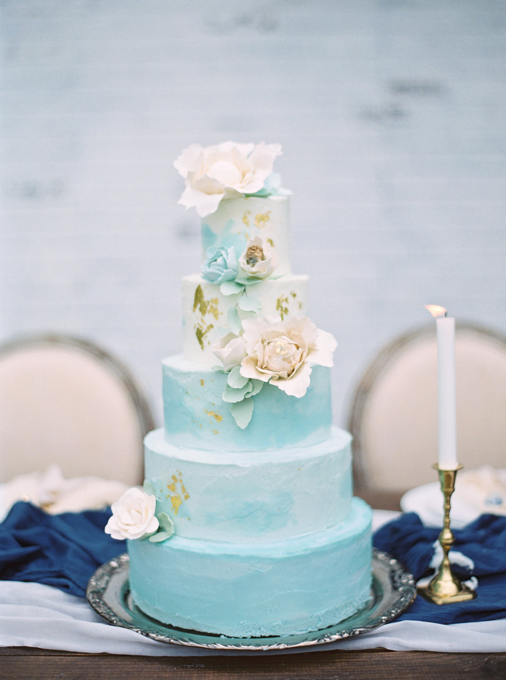 Aquamarine Marble Wedding Cake