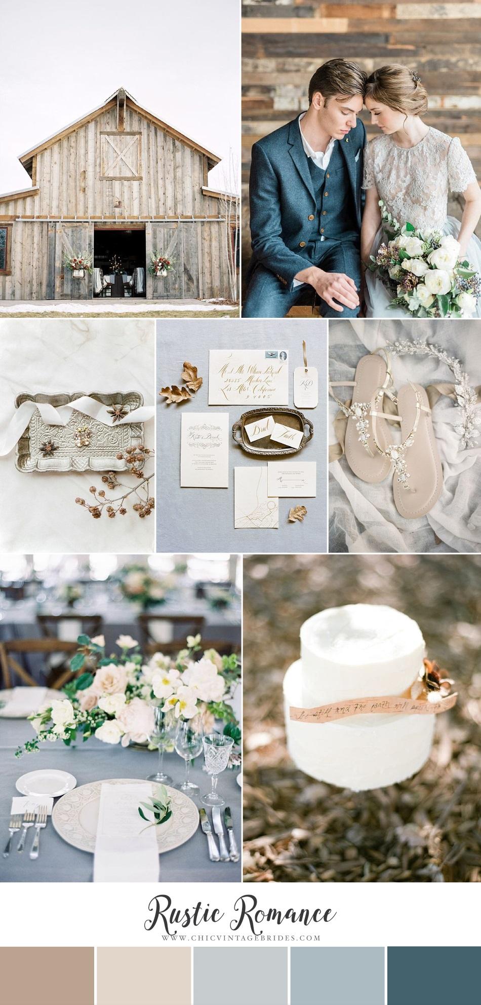 Rustic Romance - Beautiful Barn Wedding Inspiration in Blue & Neutrals