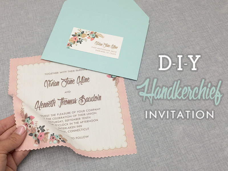 Vintage Handkerchief Wedding Invitation DIY with Download Print