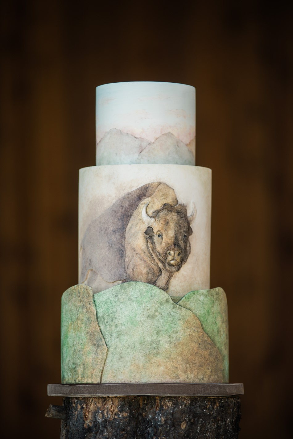 Bison Painted Wedding Cake