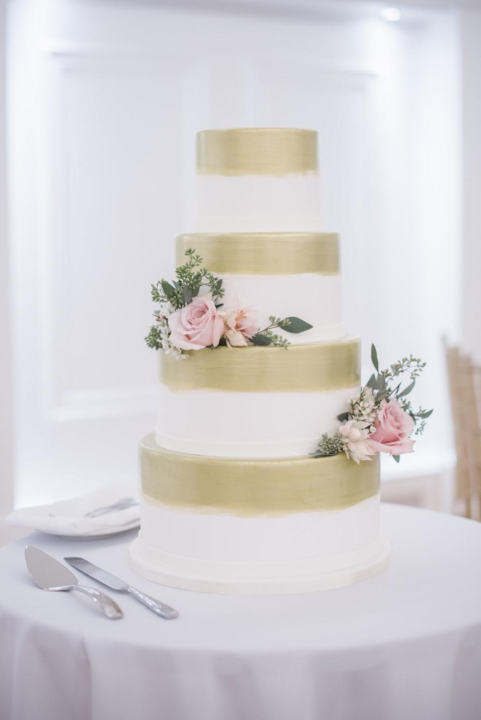 Plain White & Gold Striped Wedding Cake
