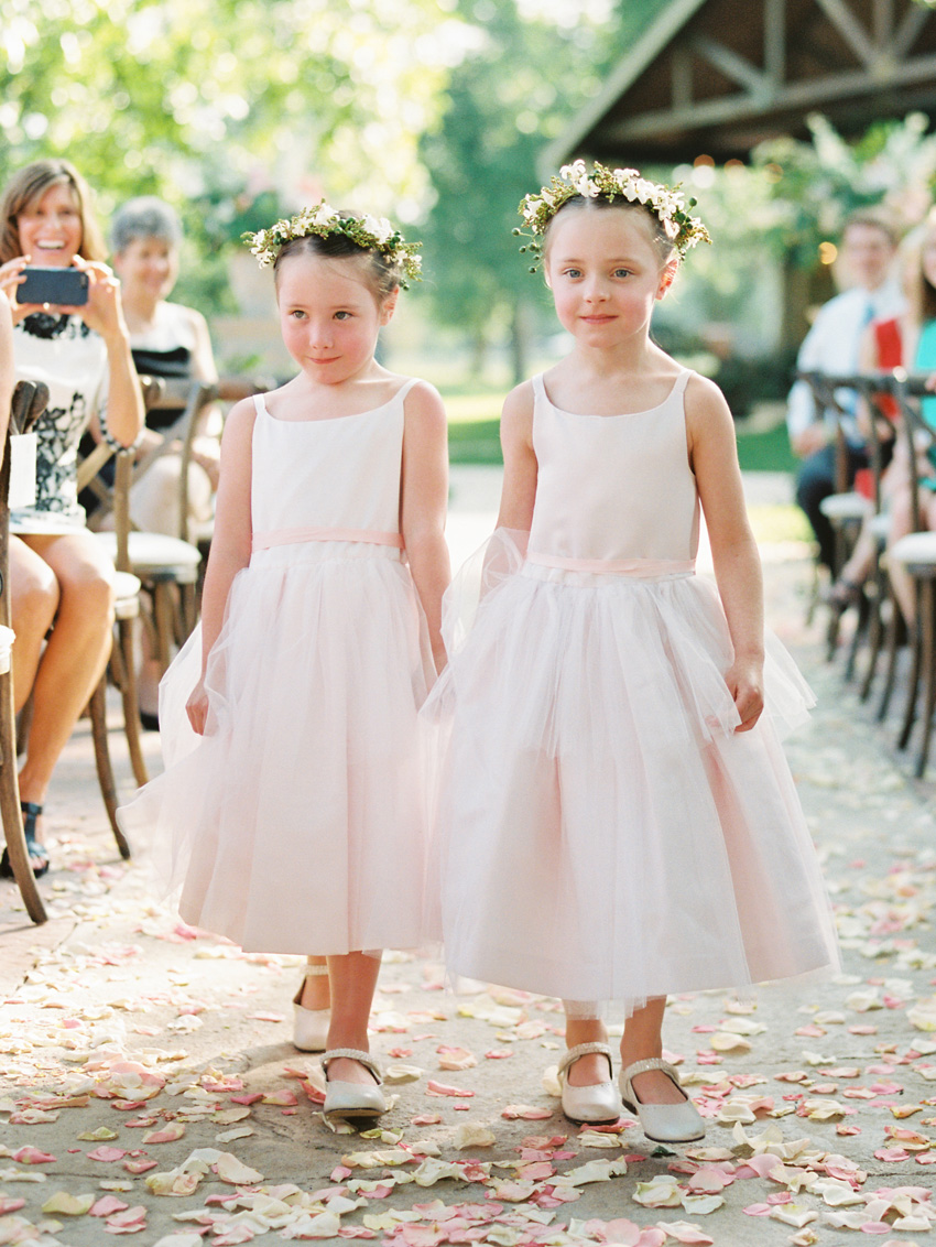 Sweet Flower Girls in Blush Dresses