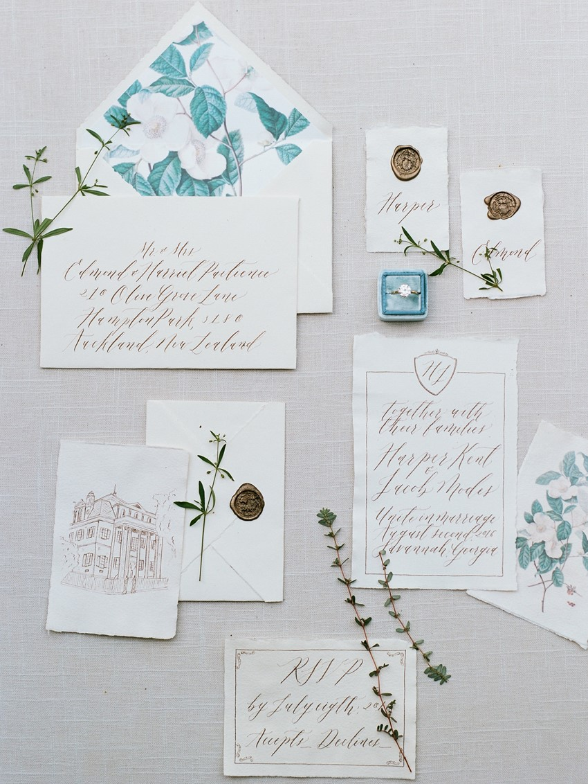 Modern Vintage Calligraphy Wedding Stationery