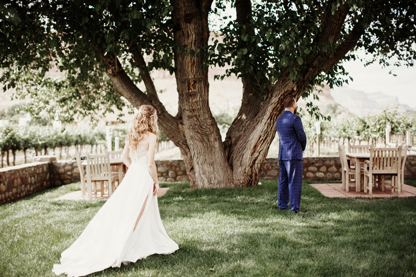 Boho-Vintage Vineyard Wedding First Look