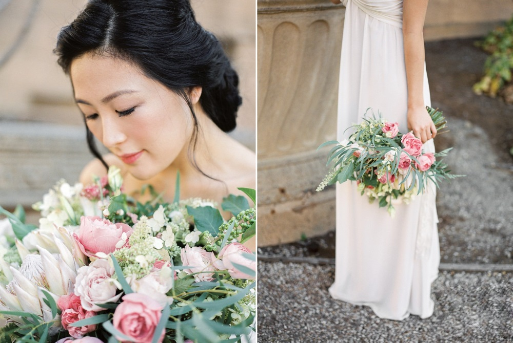 Modern Vintage Bride with a Pink Bridal Bouquet