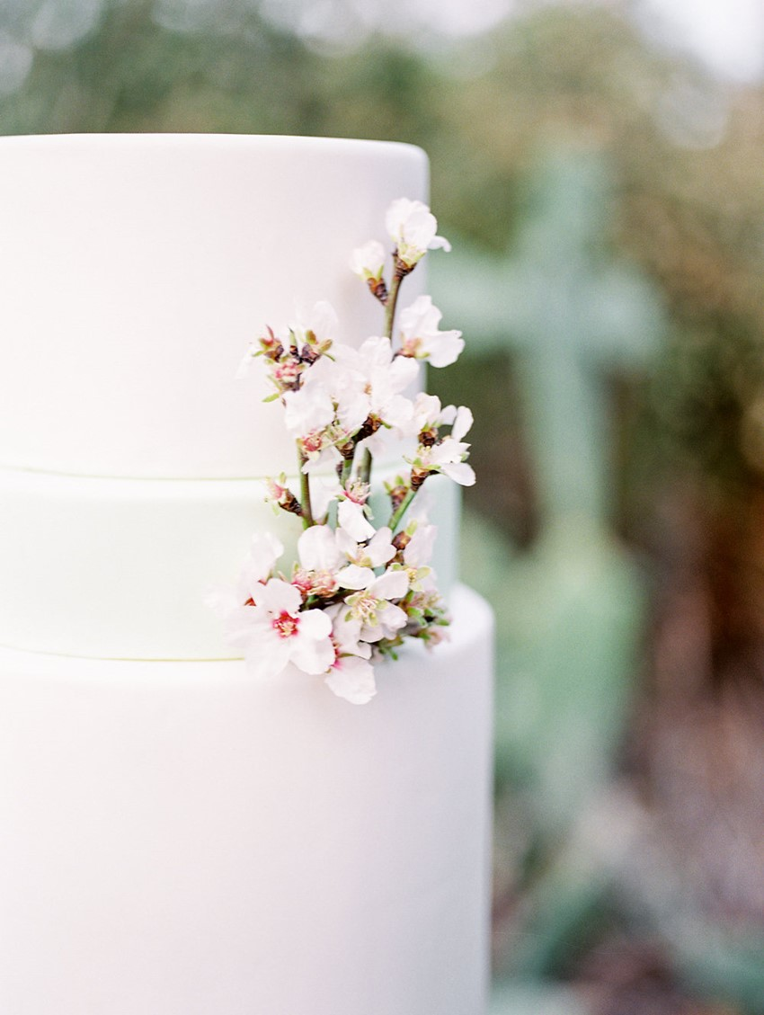 Blossom Adorned Wedding Cake