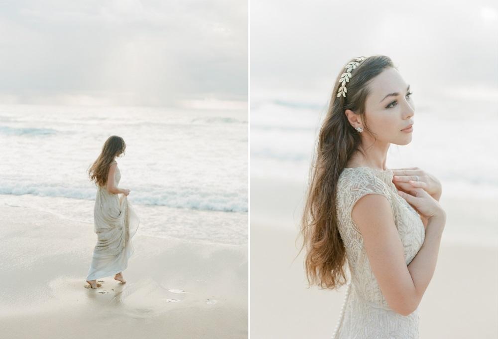 Vintage Beach Wedding Bridal Look