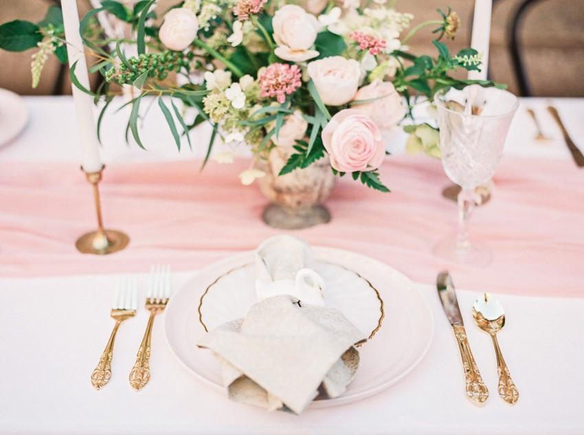 Modern Vintage Pink Wedding Place Setting