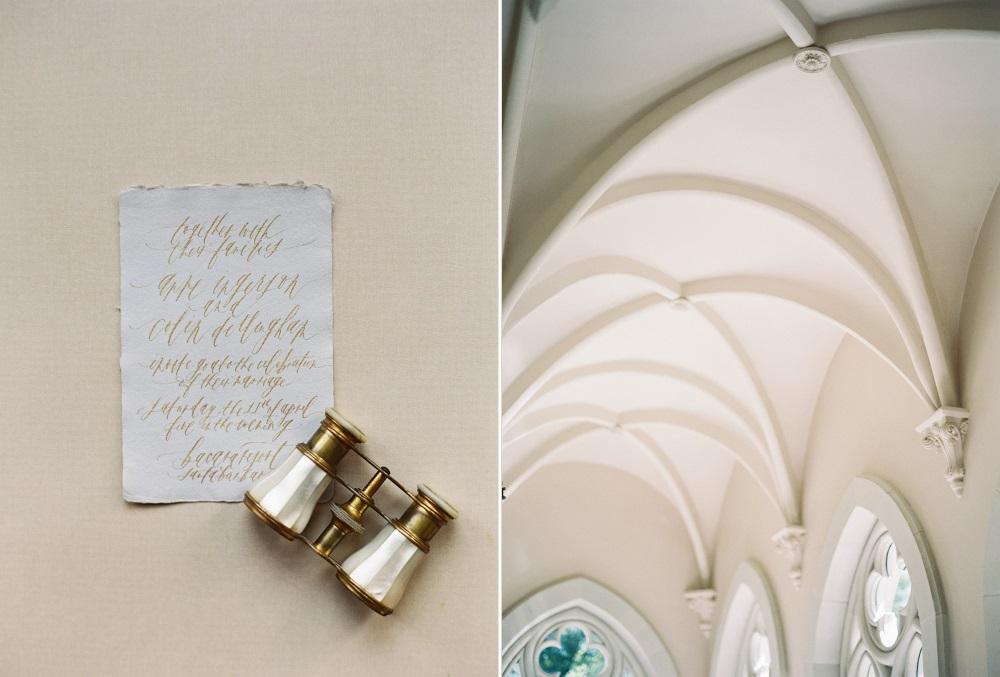 Gold Calligraphy Wedding Invite