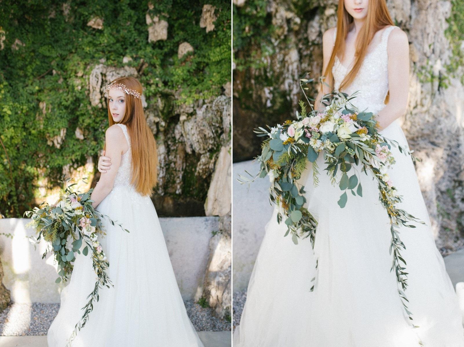 Lush vintage inspired cascading bridal bouquet