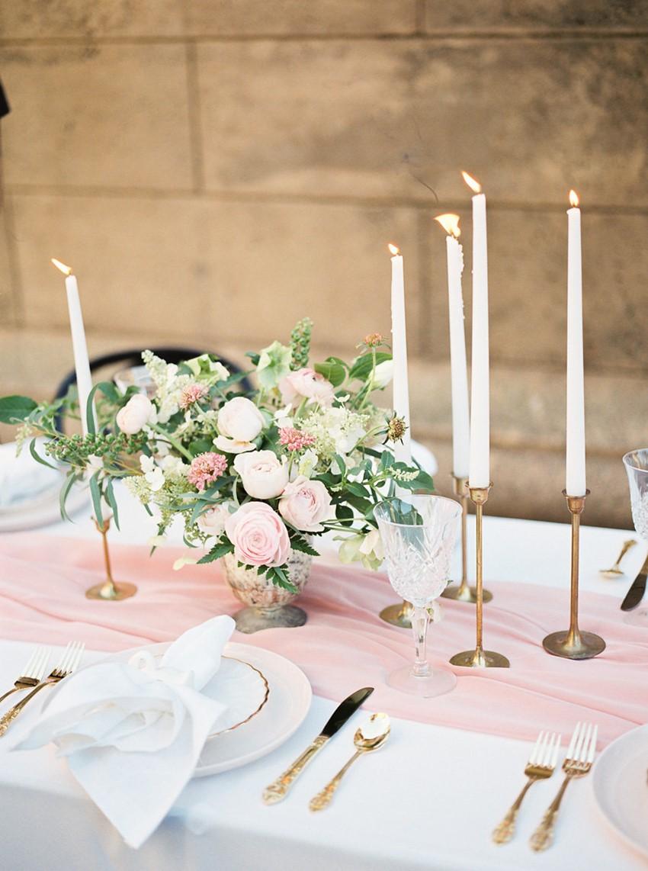 Modern Vintage Pink Wedding Tablescape