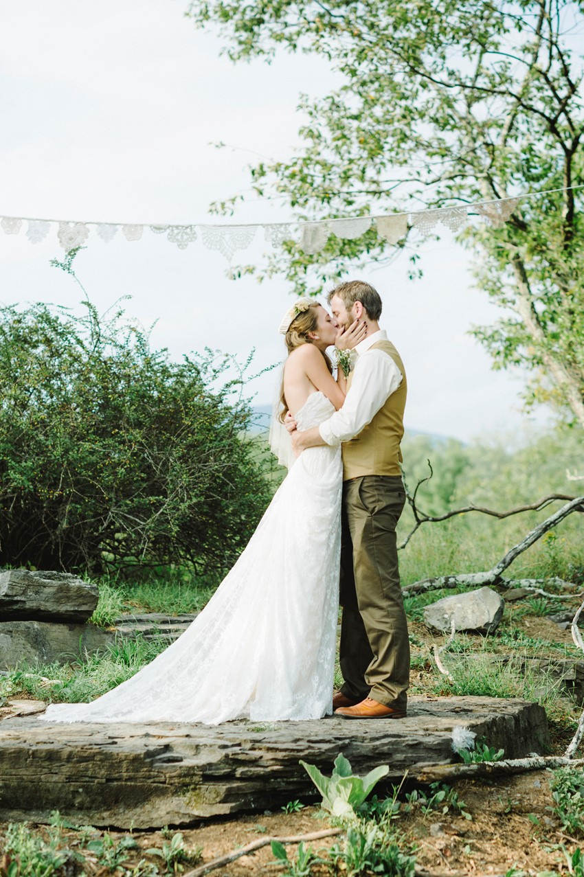 Boho Vintage Outdoor Wedding First Kiss