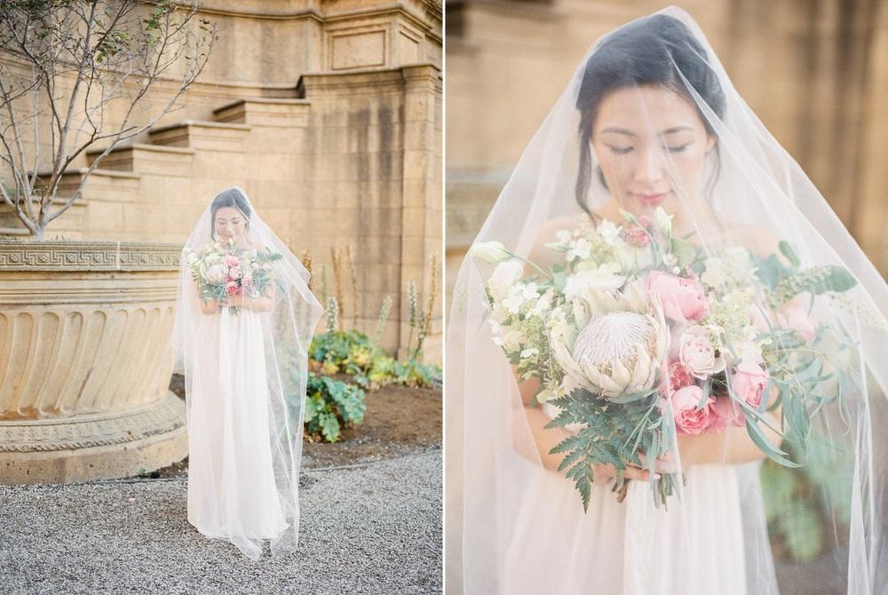 Modern Vintage Bride in a Tulle Veil