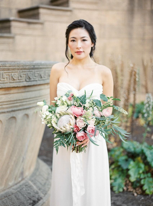 Modern Vintage Bride with a Romantic Pink Protea & Rose Bridal Bouquet