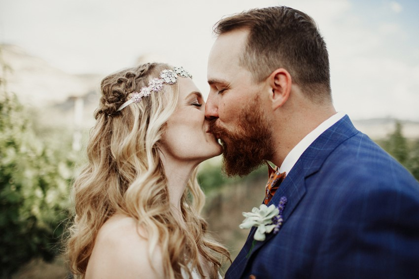 Boho-Vintage Vineyard Wedding Kiss