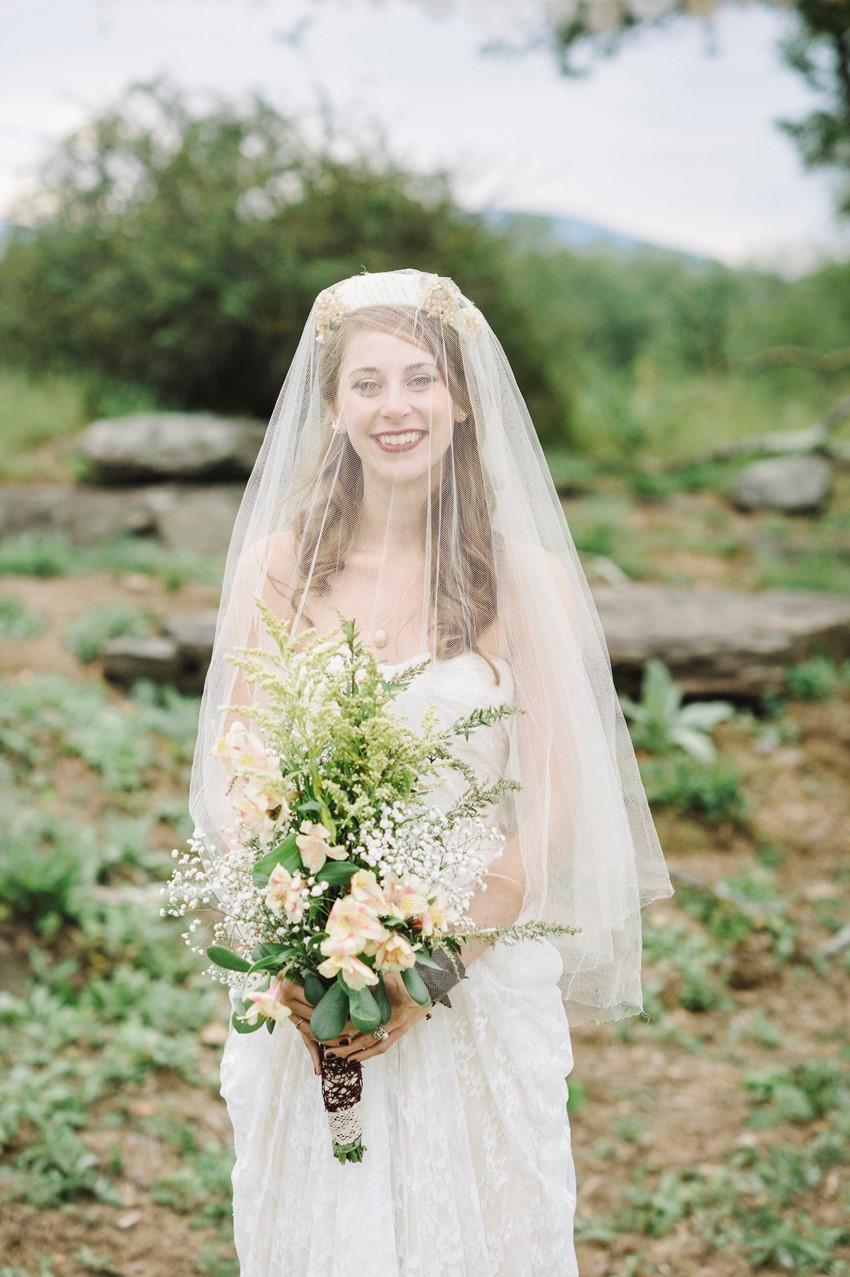 Boho Vintage Bride wearing her Grandmother's Veil