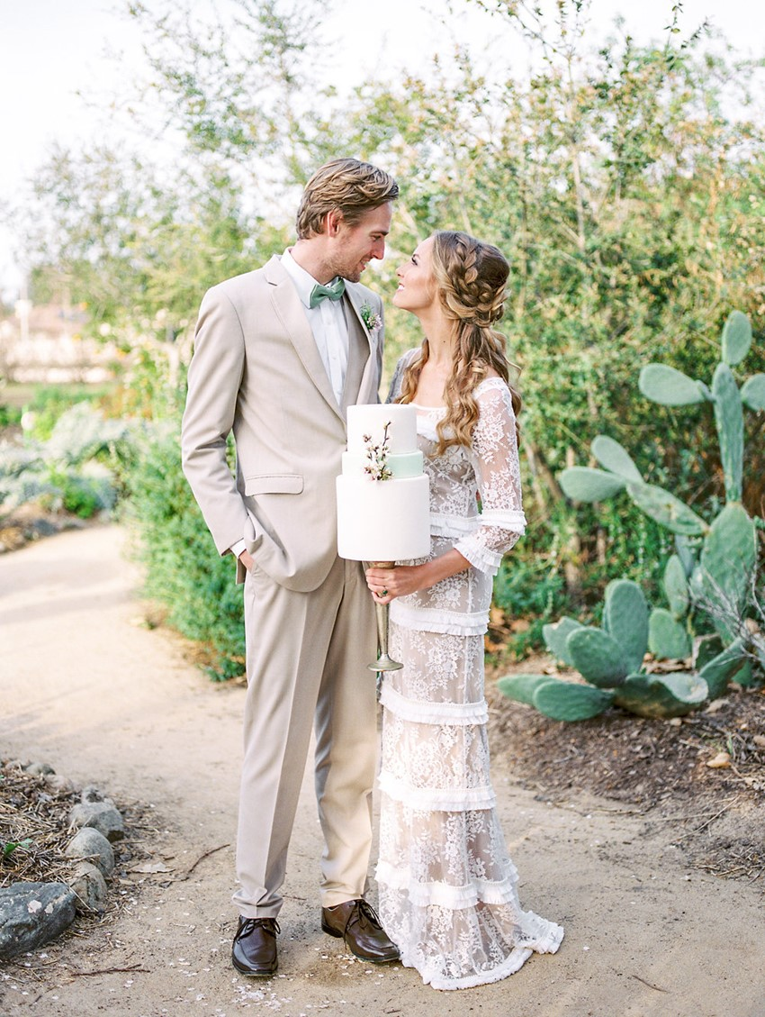 Organic Spring Wedding Bride & Groom
