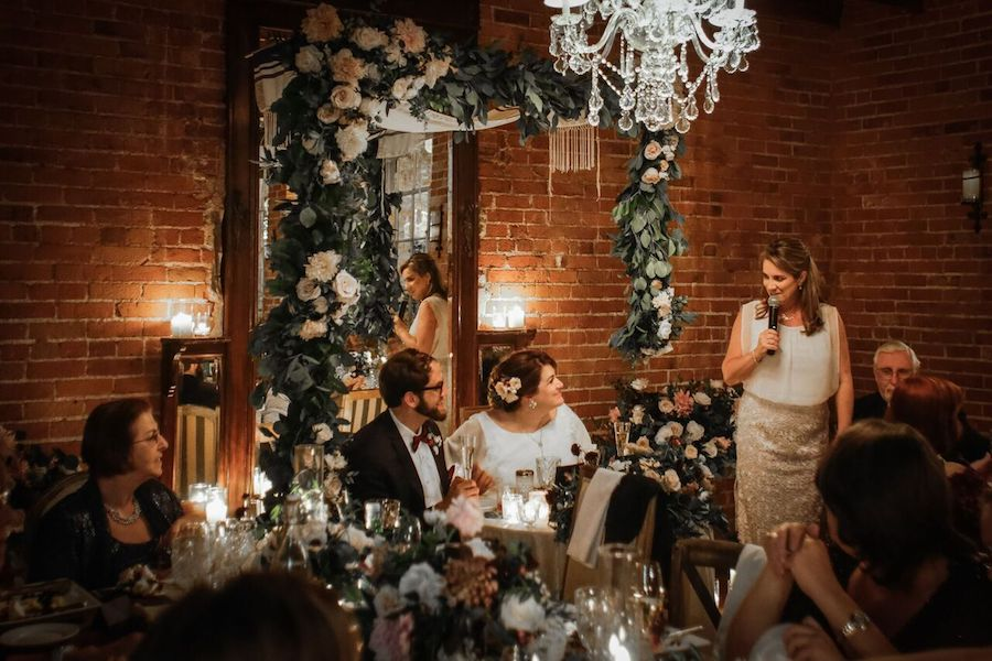 Chandelier & Candlelit Carondelet House Wedding Reception
