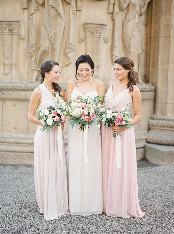 Romantic Bride & Mismatched Bridesmaids in Palest Pink