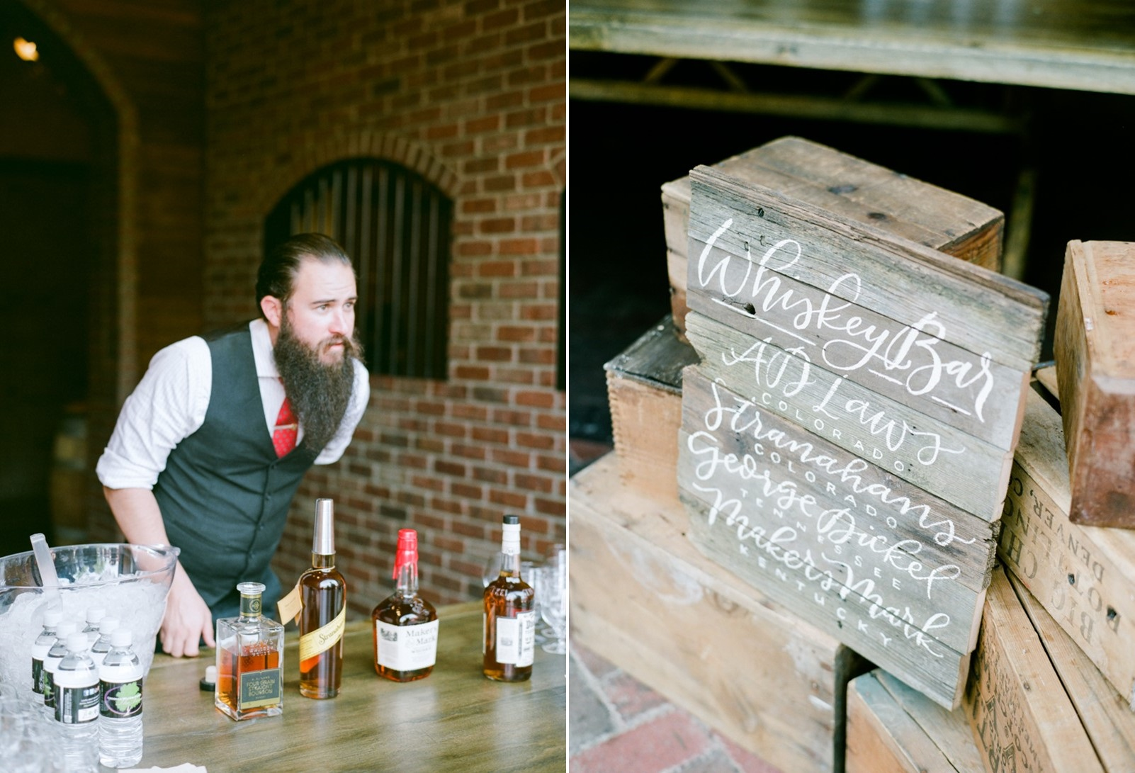 Rustic Vintage Wedding Whiskey Bar