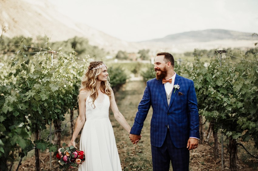 Boho-Vintage Vineyard Wedding Bride & Groom