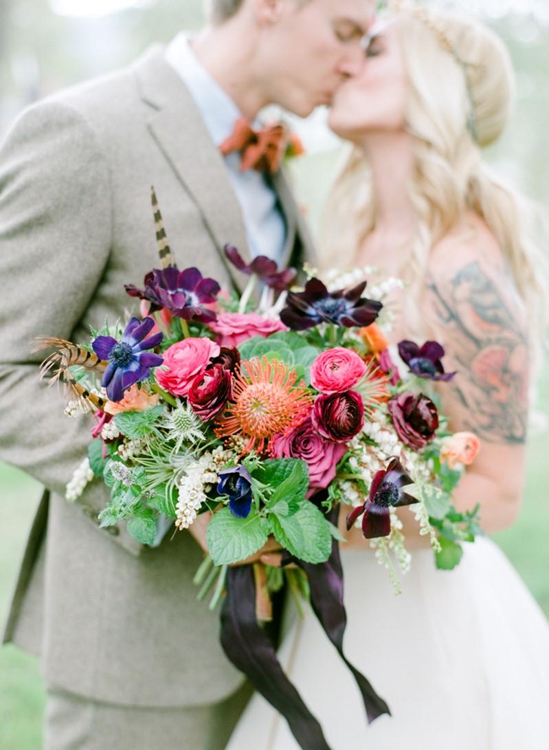 Purple & Pink Boho Vintage Bridal Bouquet