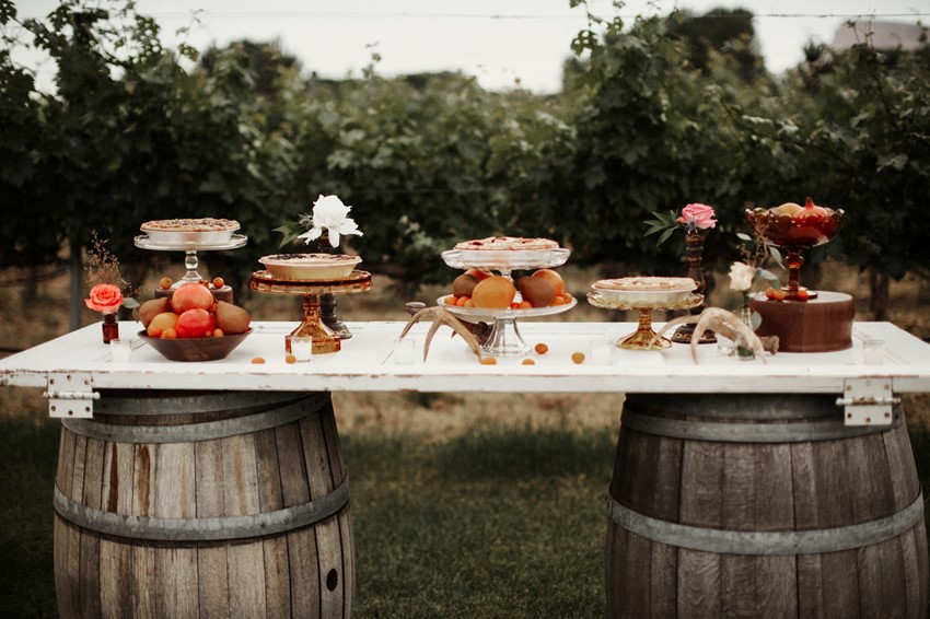 Rustic Vineyard Wedding Dessert Table
