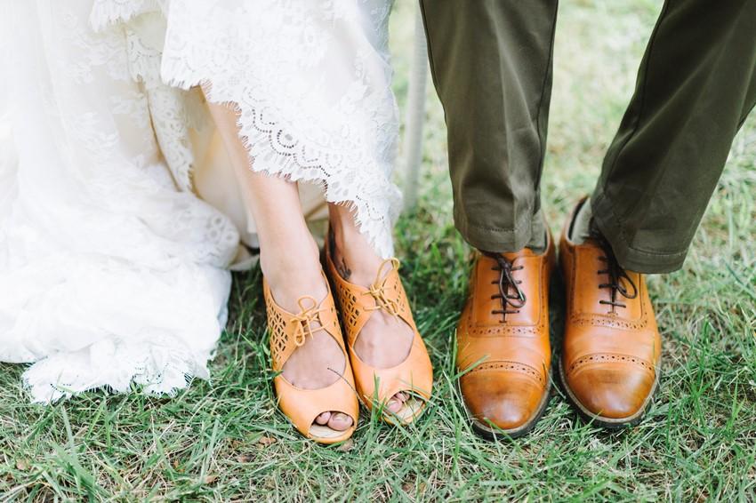 Rustic Bride & Groom's Shoes