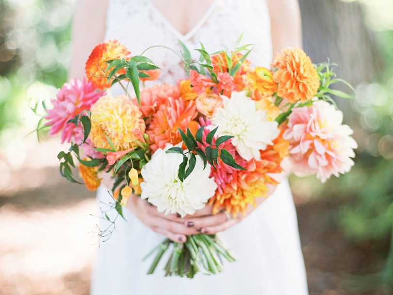 Bridal Bouquet in Bright Citrus Hues