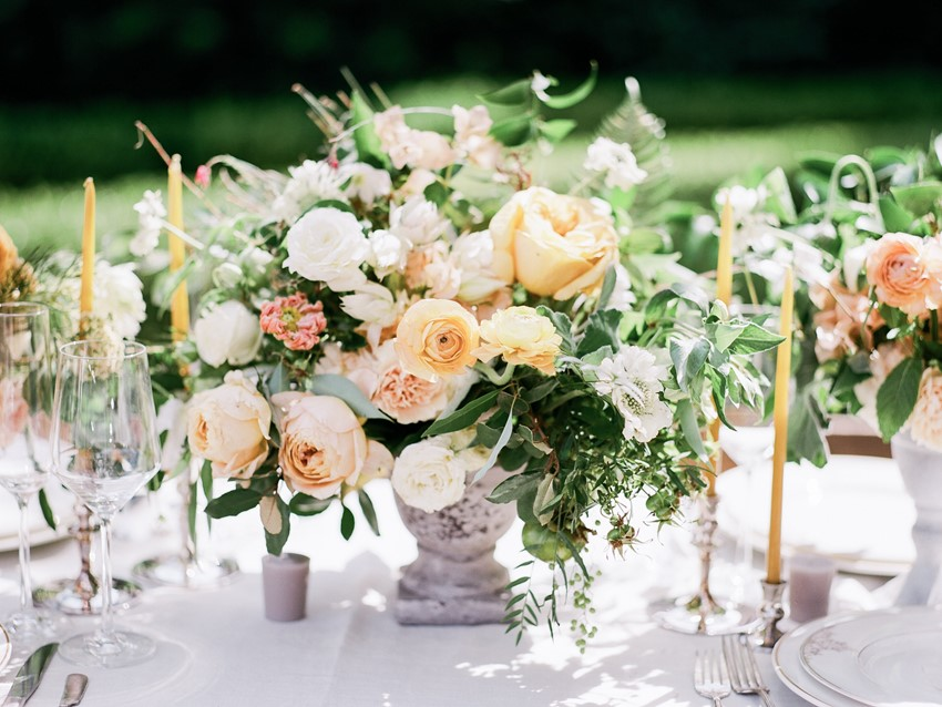 Peach & Yellow Floral Wedding Centerpiece