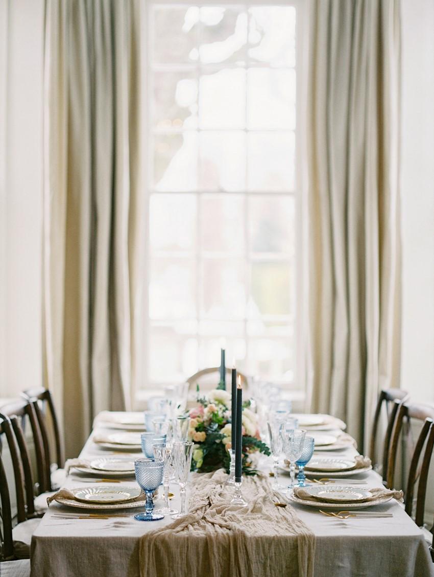 Modern Vintage Neutral & Blue Wedding Tablescape