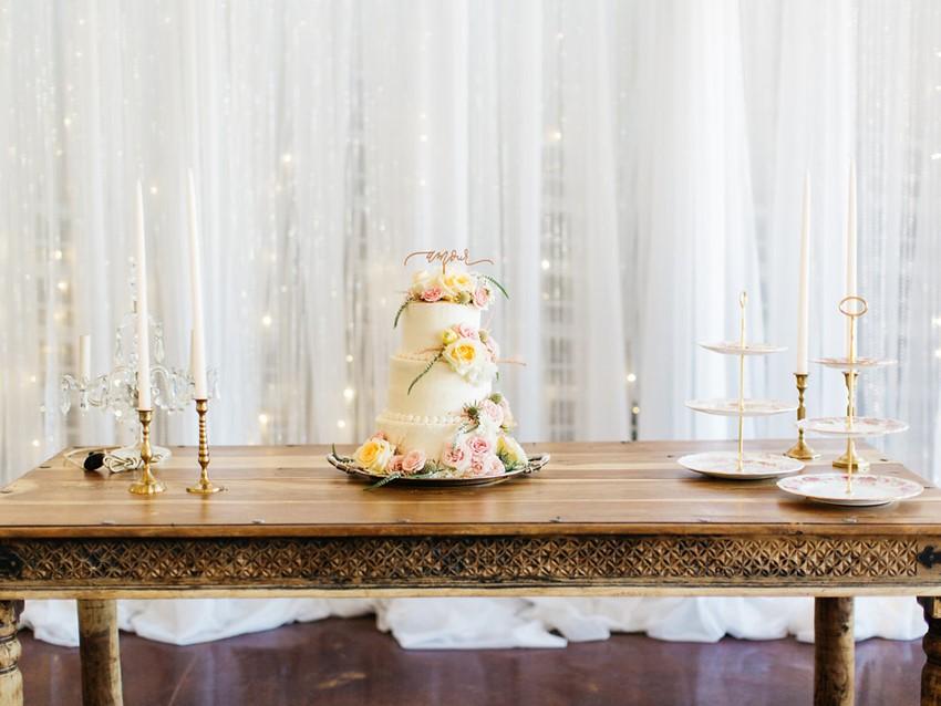 Flower Topped Garden Wedding Cake