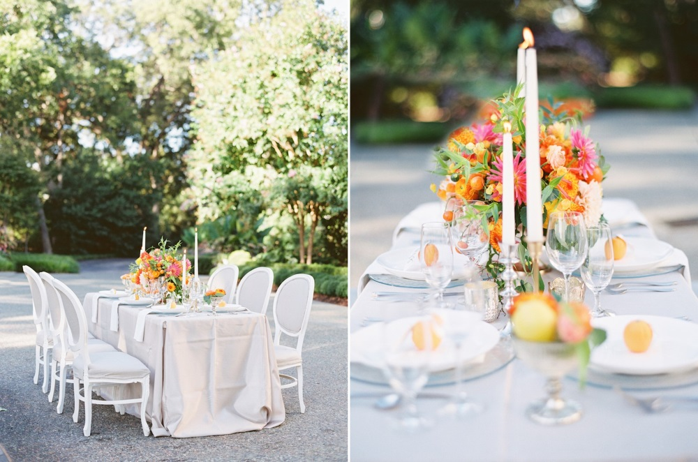 Spring Garden Wedding Tablescape in Citrus Hues