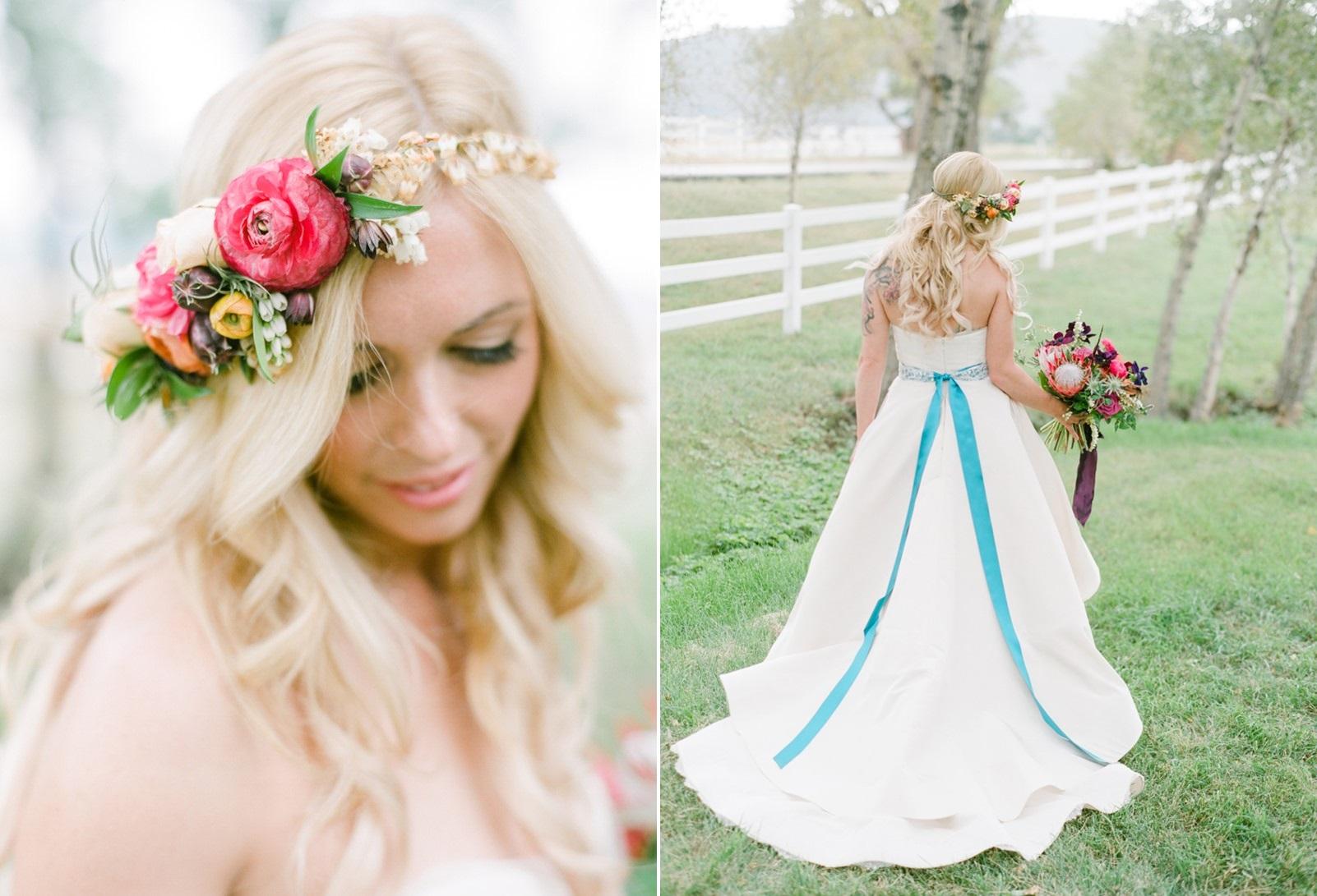 Boho Vintage Bride with Floral Crown