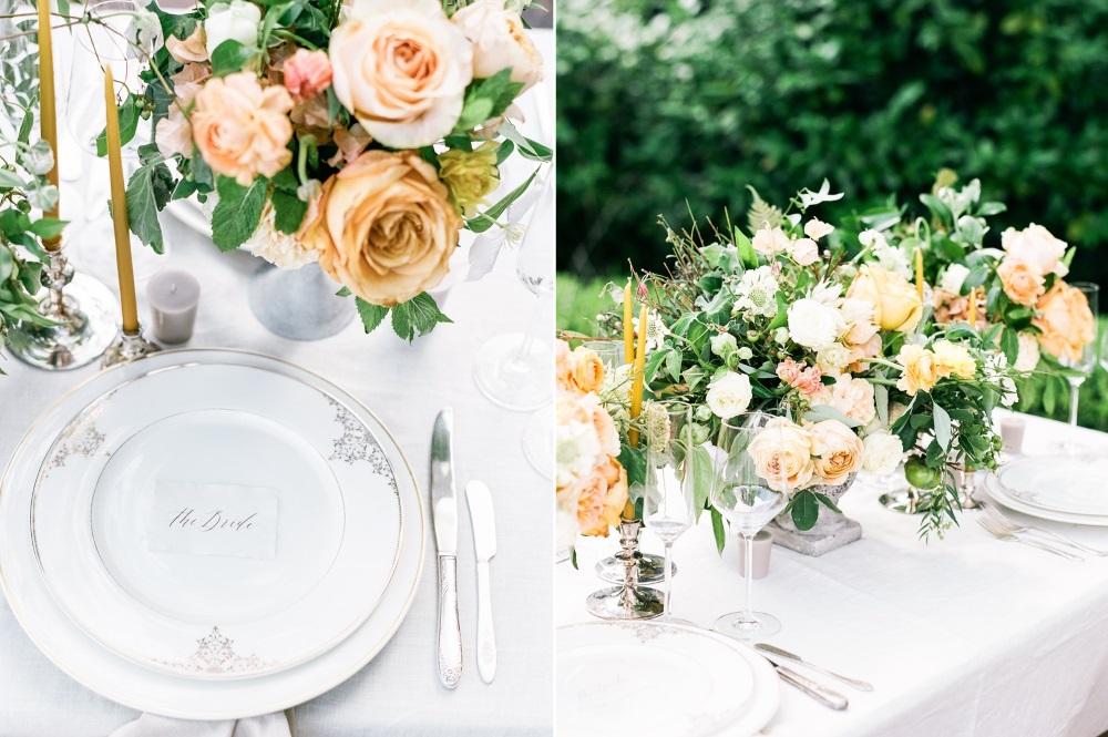 Peach & Yellow Southern Wedding Place Setting