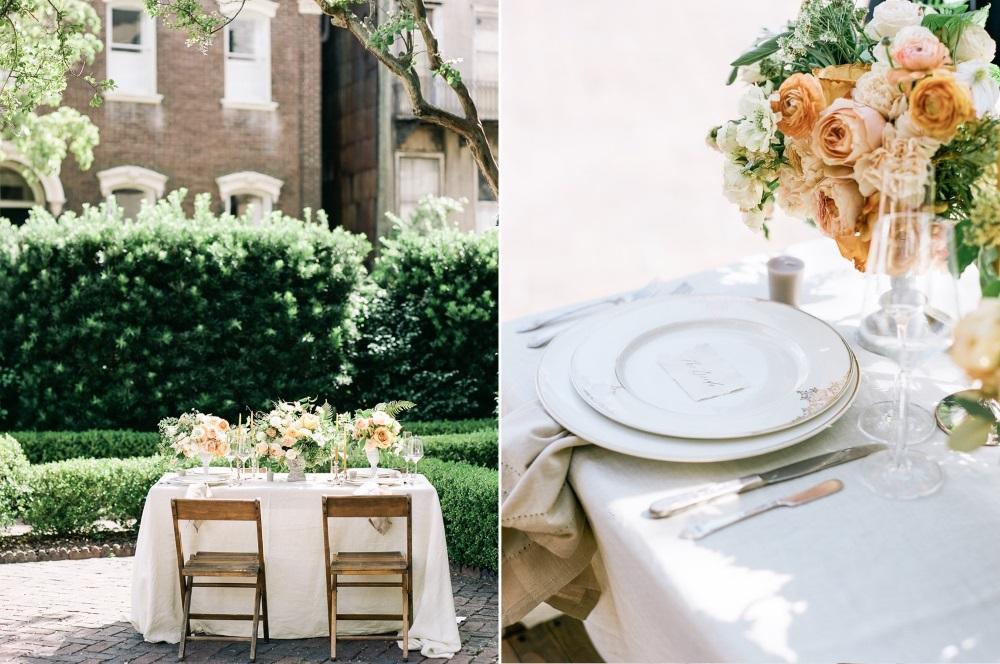 Peach & Yellow Southern Wedding Sweetheart Table