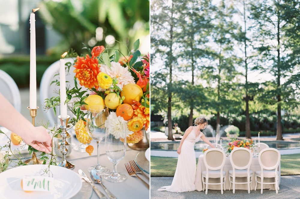 Spring Garden Wedding Tabescape in Citrus Colors