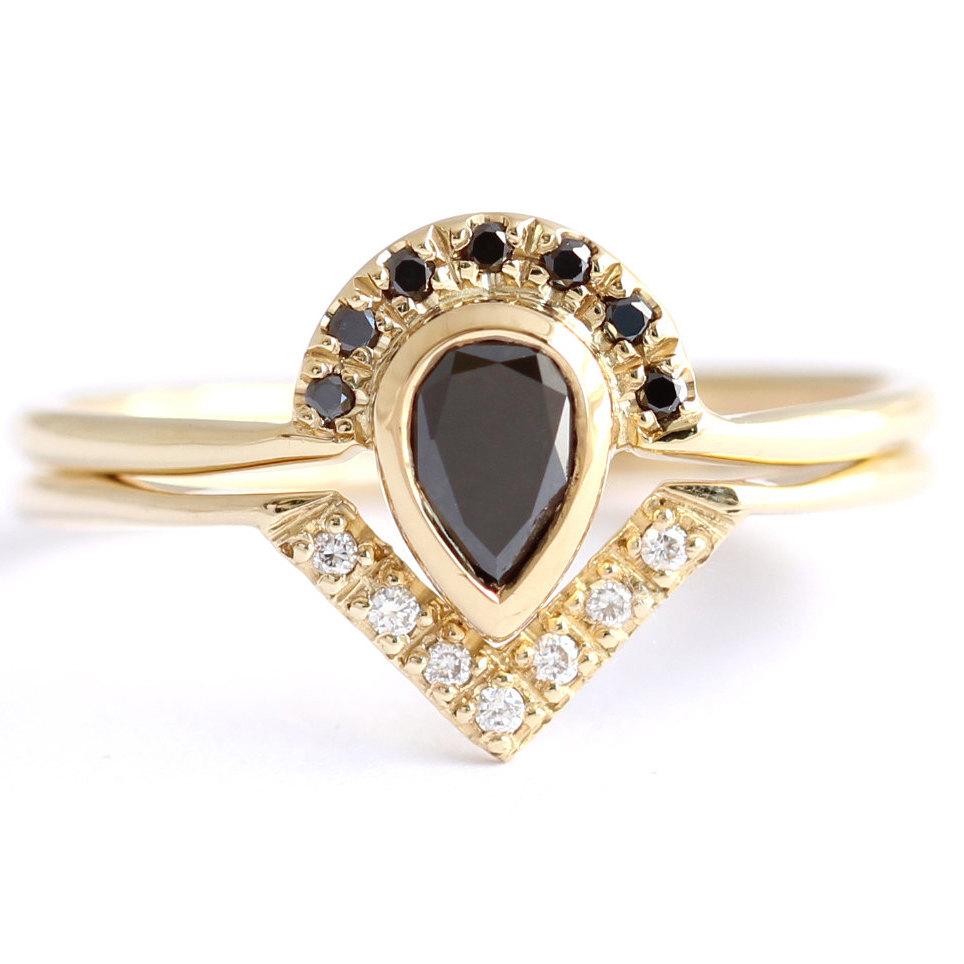 lack Diamond Engagement Ring