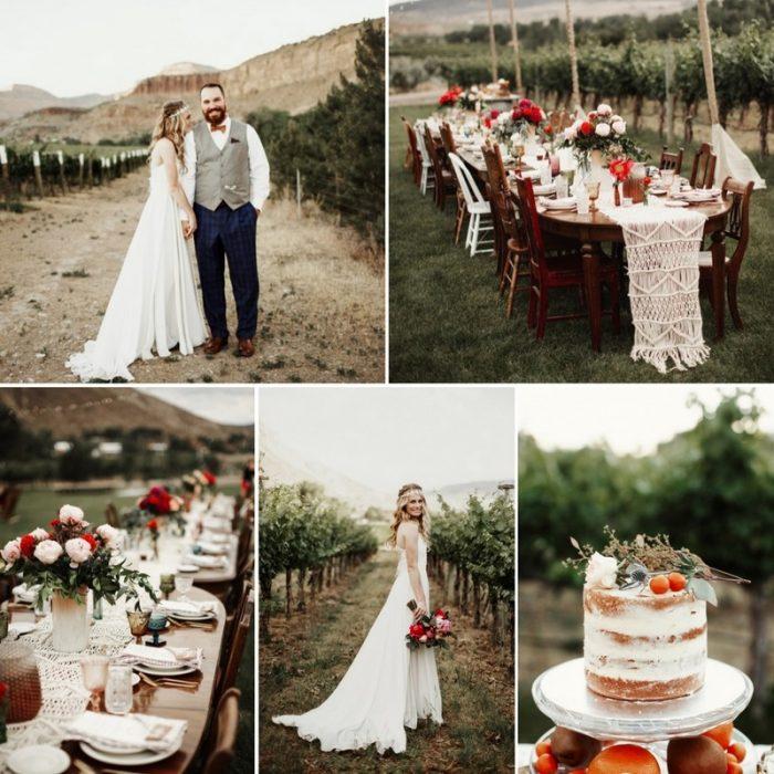A Boho-Vintage Vineyard Wedding