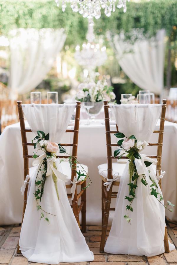 Floral Wedding Reception Chair Decor